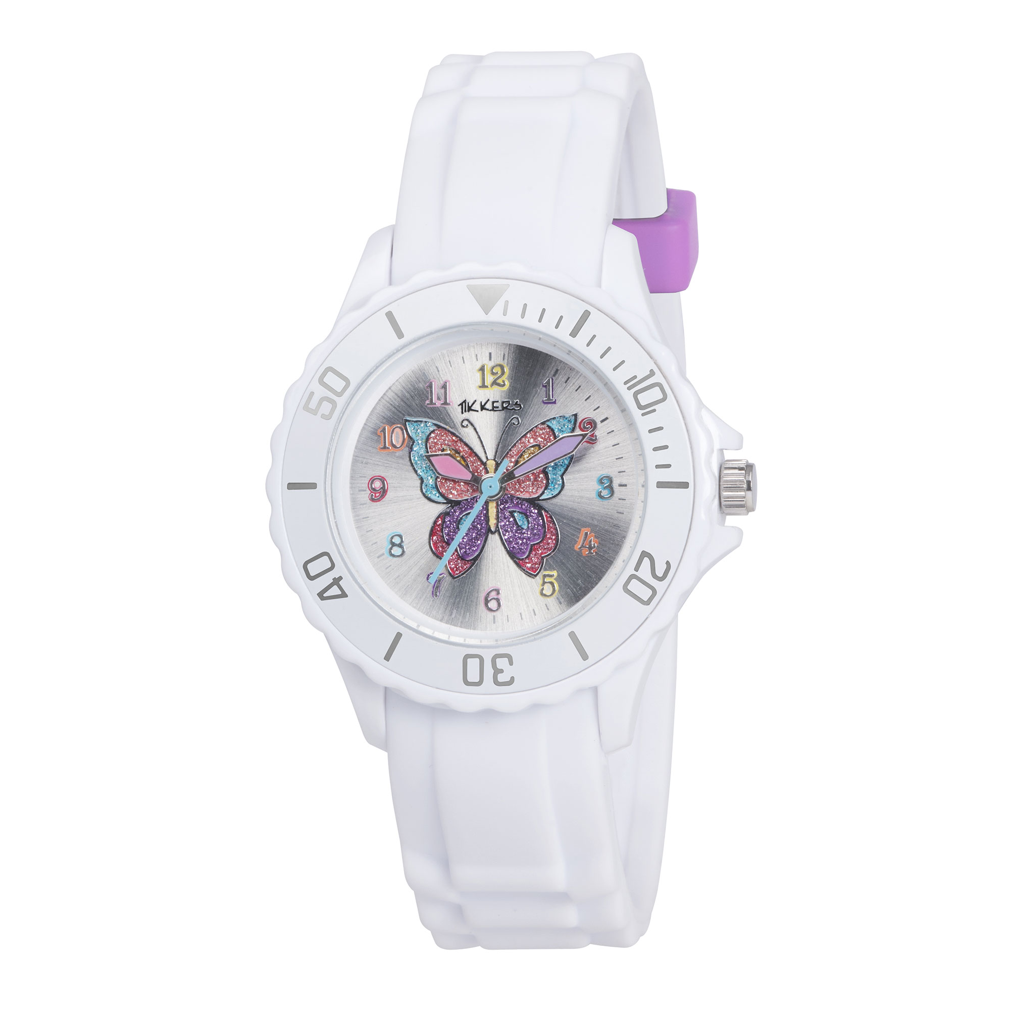 Tikkers White Glitter Butterfly Watch