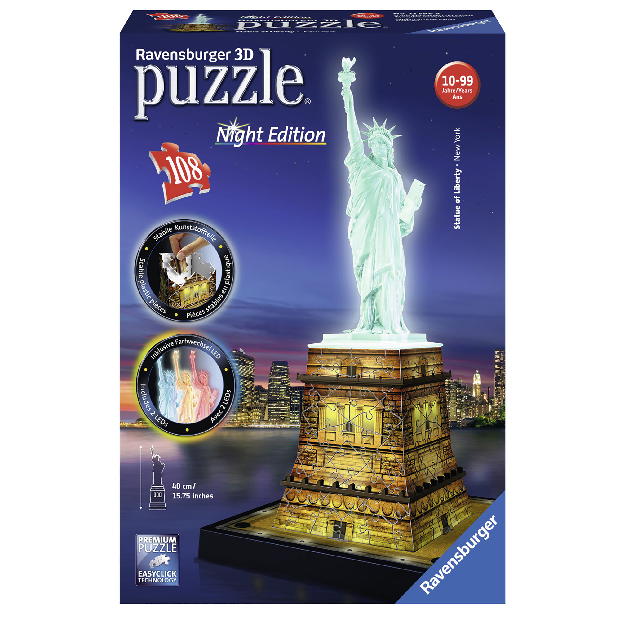 Ravensburger Statue of Liberty 108pc 3D Night Edition Jigsaw