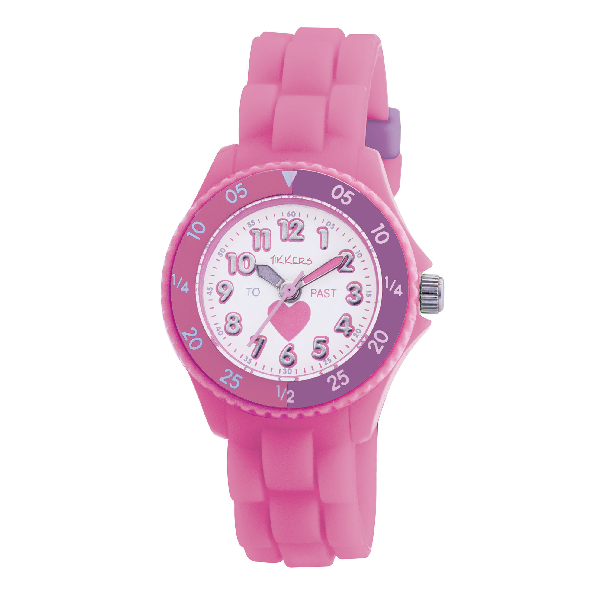 Tikkers Pink & Purple Heart Time Teacher Watch