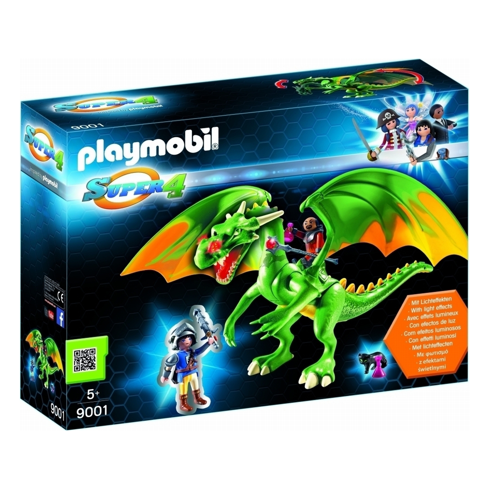 Playmobil Super 4 Kingsland Dragon LED Fire Effects 9001