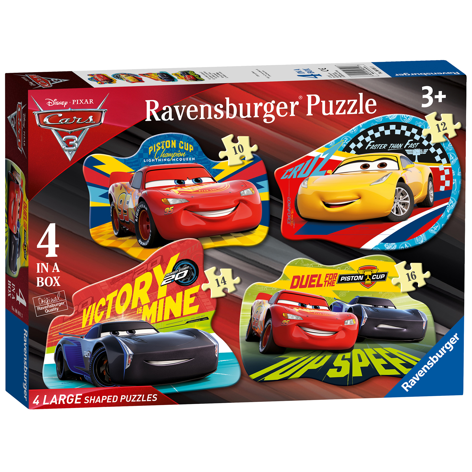 Ravensburger Disney Cars 3 4-in-1 Shaped Jigsaw Puzzle Set