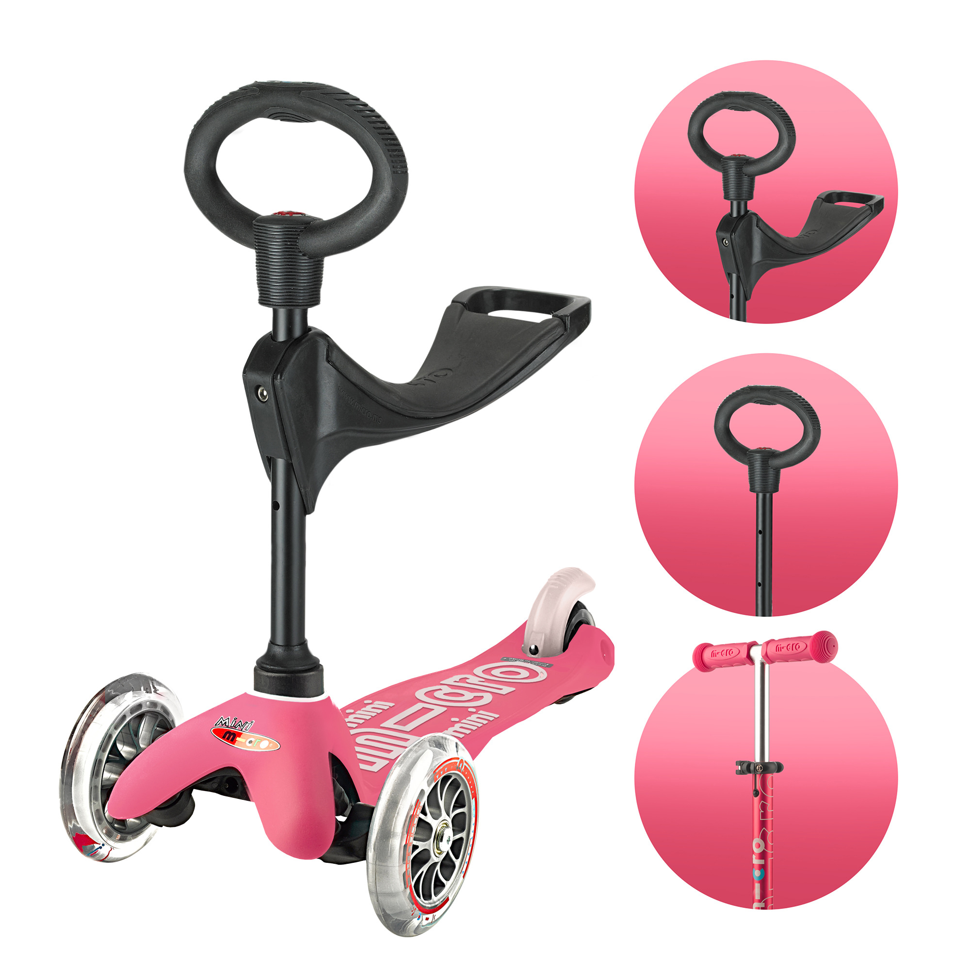 Micro Scooter Mini Micro 3 in 1 Deluxe Pink