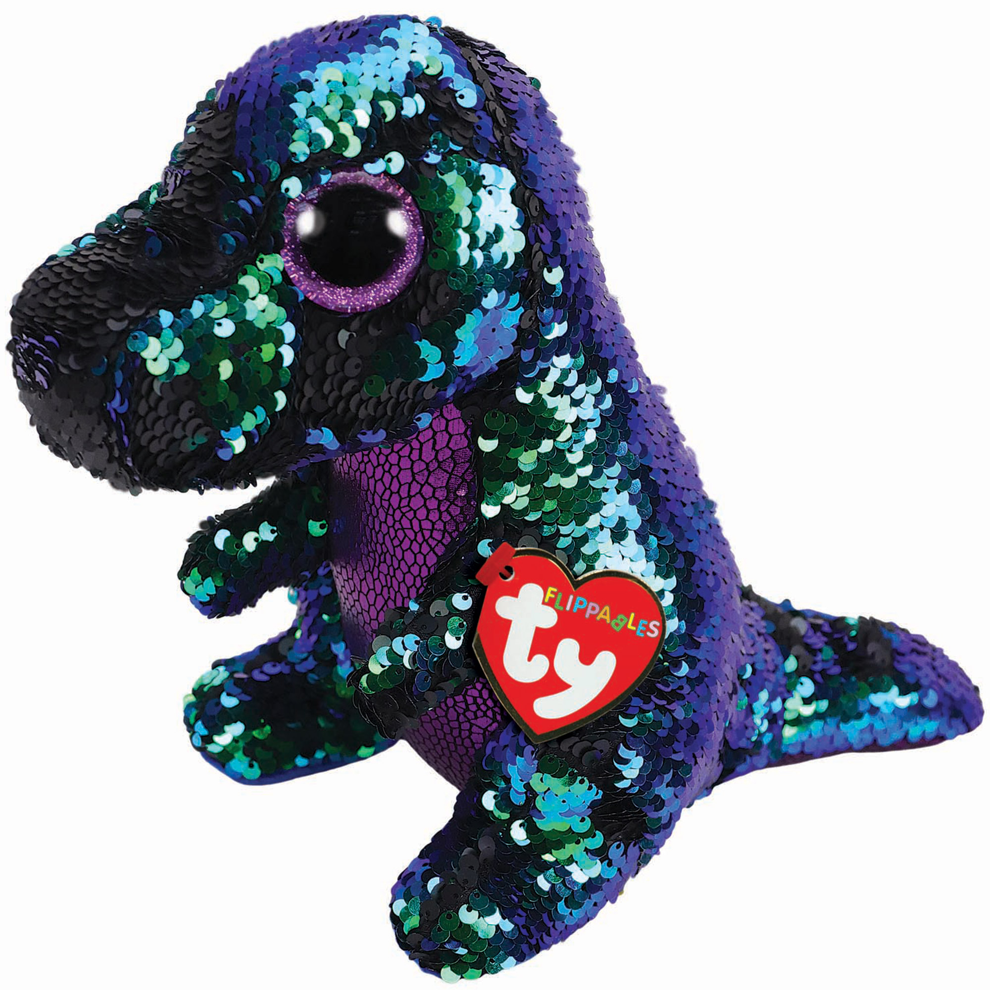TY Crunch Dino Sequin Flippable Boo Medium