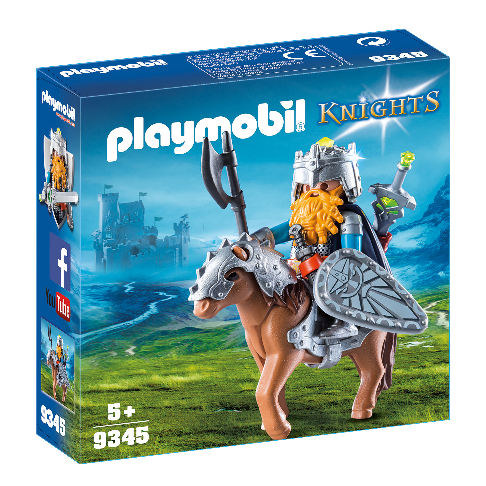 Playmobil 9345 Knights Dwarf Fighter With Pony With Removeable Armour